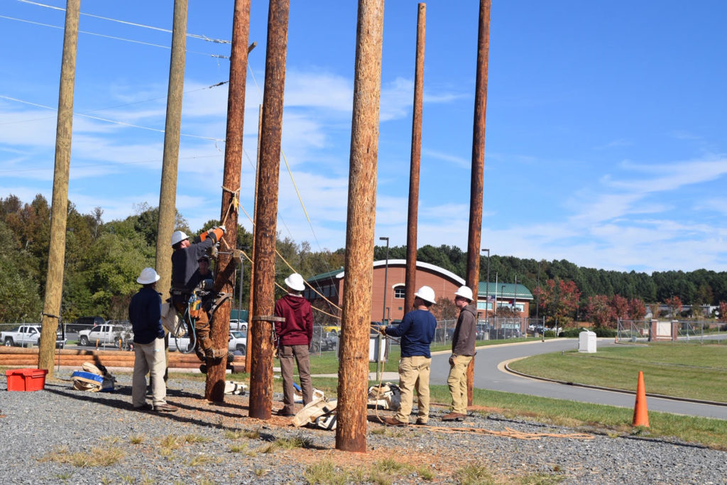 Lineman being trained at Forsyth Technical Community College