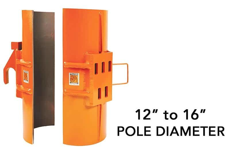 "SP100 is a Clamshell attachment to remove 12"" to 16"" metal poles"